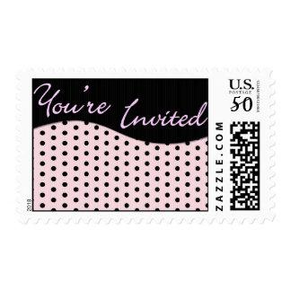Invitation Pink & Black Polka Dot Postage