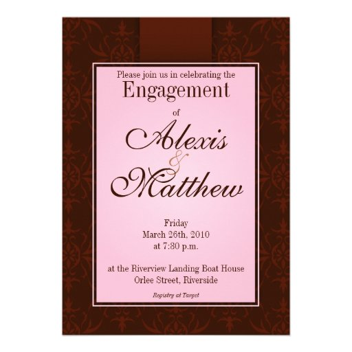 Invitation - Pink & Cocoa Orlee Pattern
