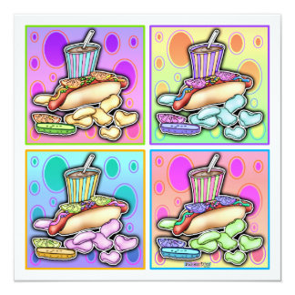 Invitation - Pop Art Hot Dog with Chips and a Drin
