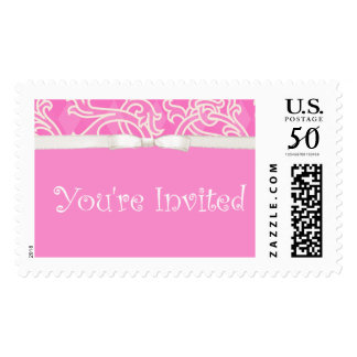 Invitation Pretty Pink Custom Postage