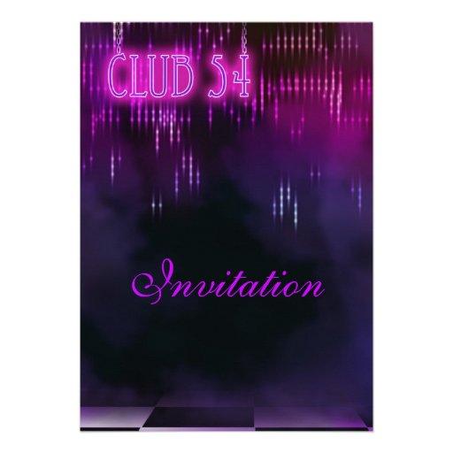 Invitation Purple Club Personalized Invites