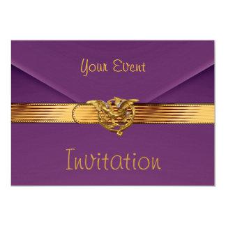 "Invitation Purple Velvet Jewel Gold Clutch Purse 5"" X 7"" Invitation Card"