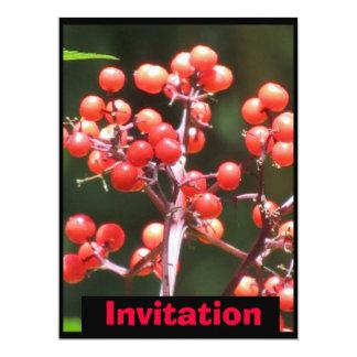 "Invitation - Red Berries - Multipurpose 6.5"" X 8.75"" Invitation Card"