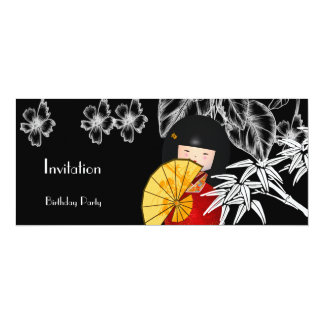 Invitation Red Black White Asian Bamboo
