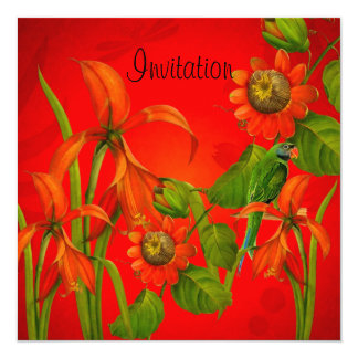 Invitation Red Flowers Parrot