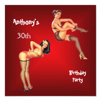 """Invitation red Pin-up Girls Birthday Party 5.25"""" Square Invitation Card"""