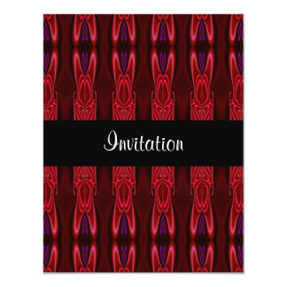 Invitation Red Purple Abstract Faux Silk on Black