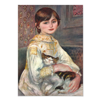 Invitation: Renoir painting of Mlle. Manet and Cat Card