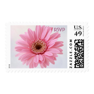 Invitation reply, RSVP, pink Gerbera daisy Postage