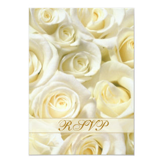 Invitation reply RSVP with white-cream roses.