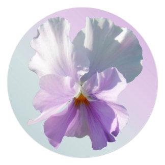 "Invitation - Ruffled Pink Pansy 5.25"" Square Invitation Card"