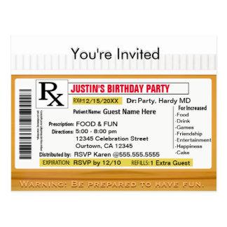 Invitation | RX Prescription for Fun Postcard