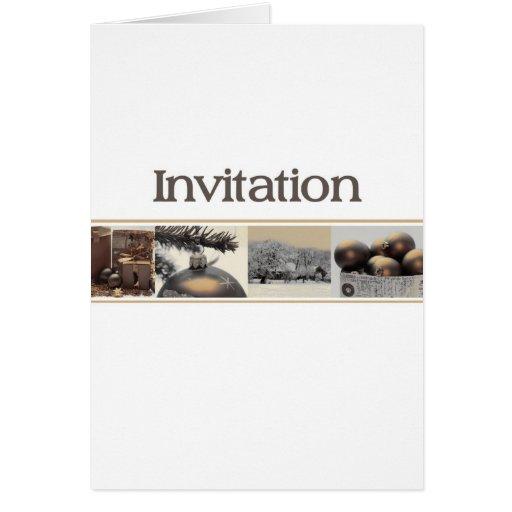 invitation sepia winter collage card