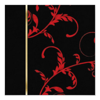 Invitation Square Acanthus Vine Black and Red