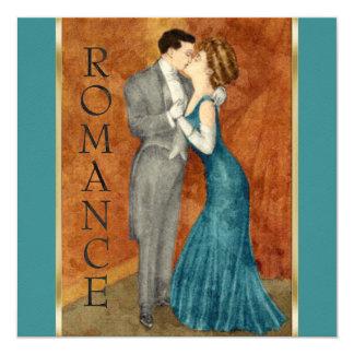 """Invitation Square Art Deco Couple Romance 5.25"""" Square Invitation Card"""