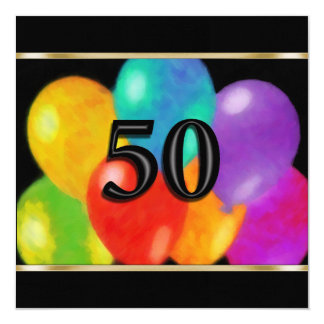 Invitation Square Birthday Balloons 50