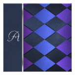Invitation Square Blue Purple Harlequin
