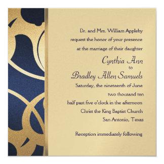 Invitation Square Navy Faux Gold Deco Design