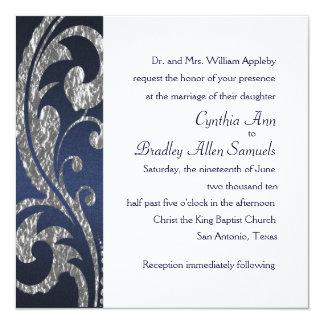 Invitation Square Navy Faux Silver Foil Design