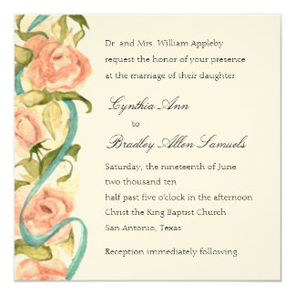 Invitation Square Roses and Ribbons