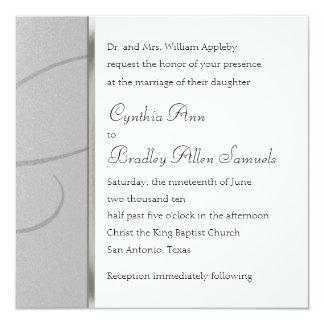 Invitation Square Silver Crystal Snowflake