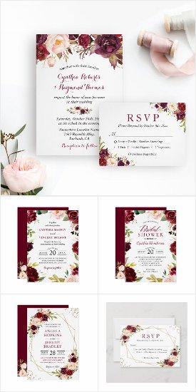 Wedding Invitation Suite: Burgundy Marsala Rustic Floral