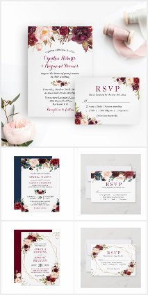 Invitation Suite: Burgundy Marsala Rustic Floral