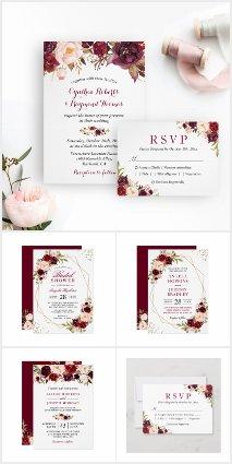 Invitation Suite: Burgundy Marsala Rustic Floral
