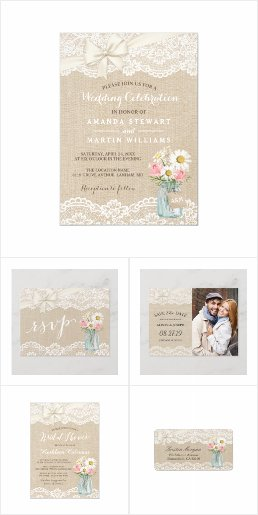 Invitation Suite: Burlap Lace Floral Mason Jar