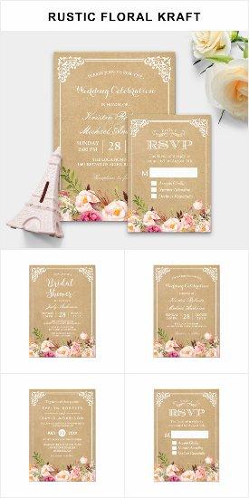 Invitation Suite: Classy Rustic Floral Kraft