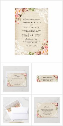 Invitation Suite: Rustic Burlap Lace Rose Floral
