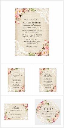 Invitation Suite: Rustic Burlap Lace Rose Floral