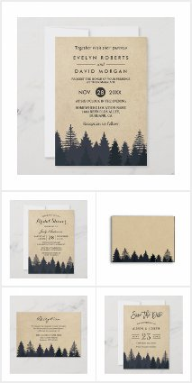 Invitation Suite: Rustic Kraft Winter Pine Trees