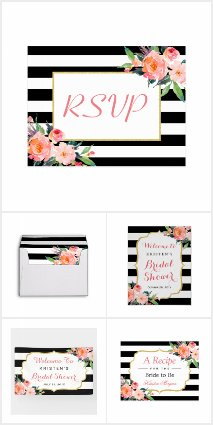 Invitation Suite: Watercolor Floral Black Stripes
