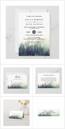 Invitation Suite: Winter Pine Tree Forest Theme