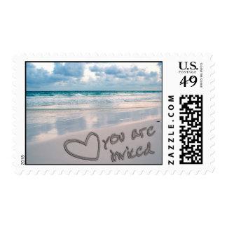 Invitation, Sunset Beach Sand Writing Postage Stamp