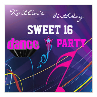 Invitation Sweet 16th Birthday Music Dance Party Personalized Announcements