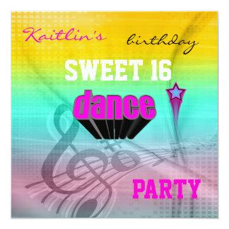 Invitation Sweet 16th Birthday Music Dance Party Custom Announcement