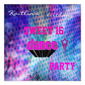 Invitation Sweet 16th Birthday Music Dance Party Custom Invites