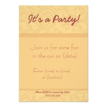 Beach Themed Invitation - Swirled Sun