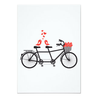 Invitation tandem bicycle with cute love birds