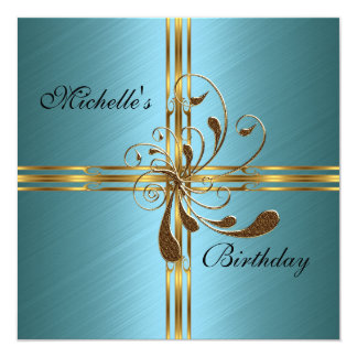 Invitation Teal & Gold Abstract