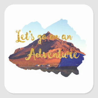 Invitation to adventure square sticker