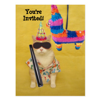 Invitation to Birthday with Pinata! Postcard