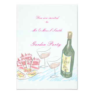 Invitation to garden party wine and food