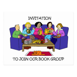 Invitation to join our book group. postcard