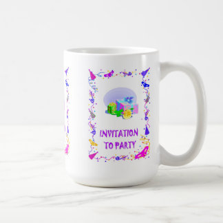 Invitation to party, parcels coffee mug