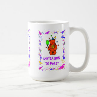 Invitation to party, teddy bear and balloon classic white coffee mug