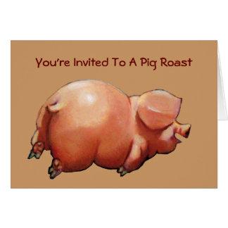 Invitation To Pig Roast: Painting Of Happy Pig