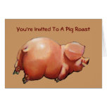 Invitation To Pig Roast: Painting Of Happy Pig Card